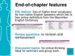 end of chapter features