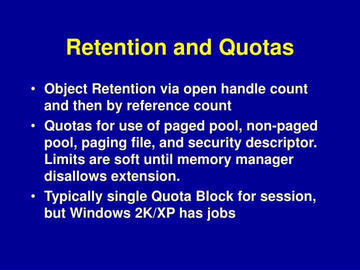 Retention and Quotas