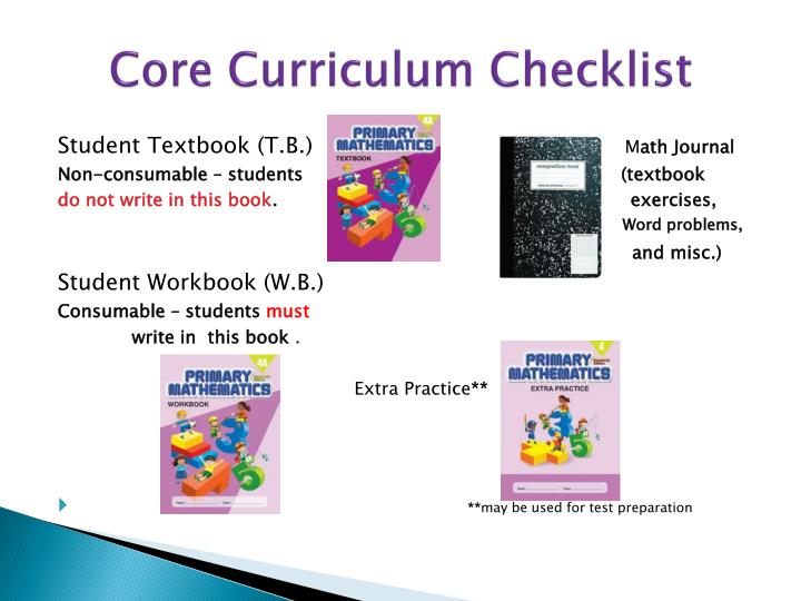 Core Curriculum Checklist