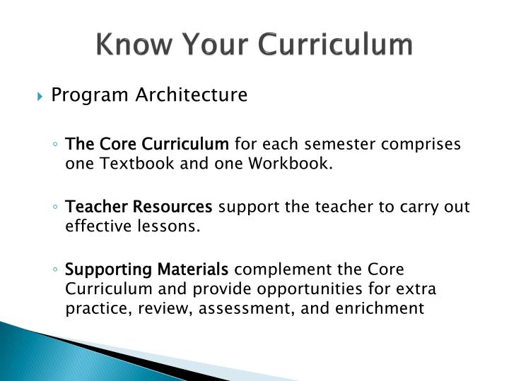 Know Your Curriculum
