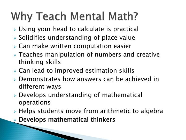 Why Teach Mental Math?