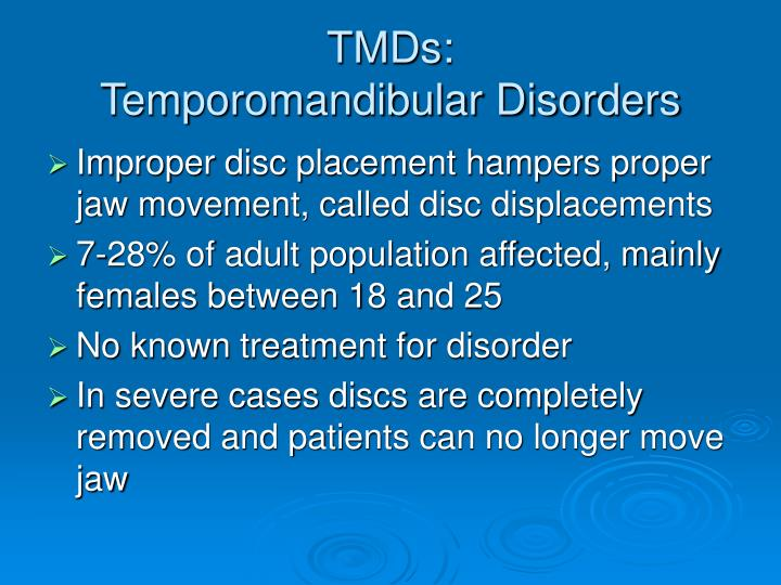 Tmds temporomandibular disorders