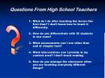 questions from high school teachers8