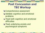 post concussion and tbi workup