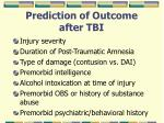 prediction of outcome after tbi