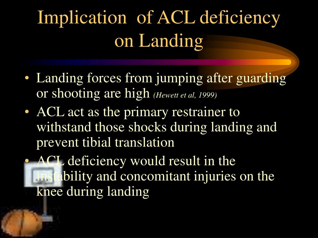 Implication  of ACL deficiency on Landing
