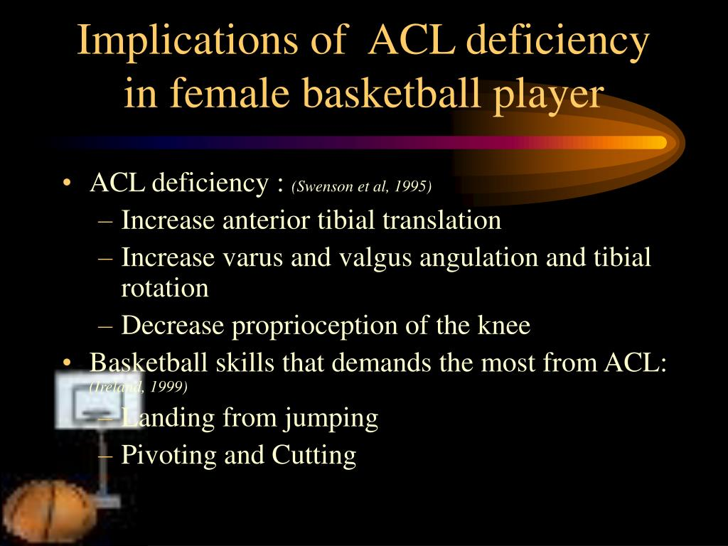 Implications of  ACL deficiency in female basketball player