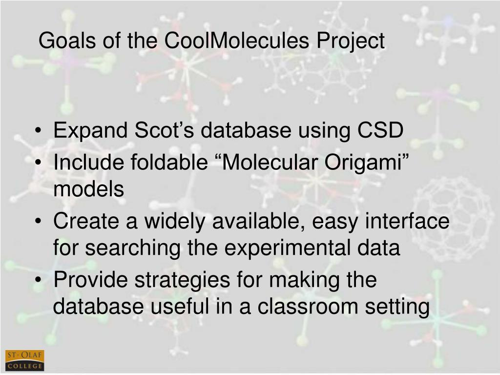 Goals of the CoolMolecules Project