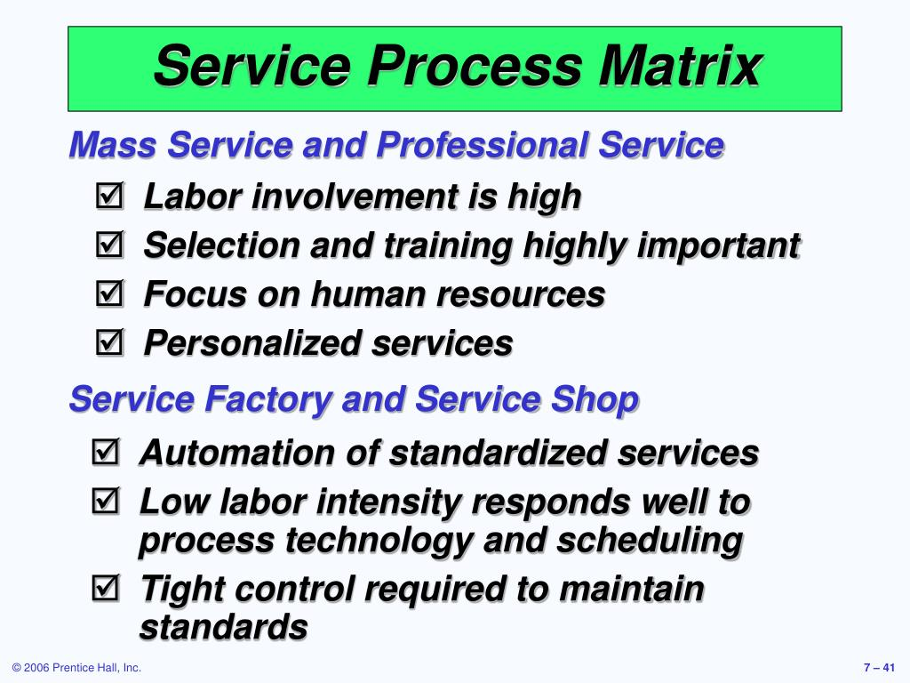 Mass Service and Professional Service