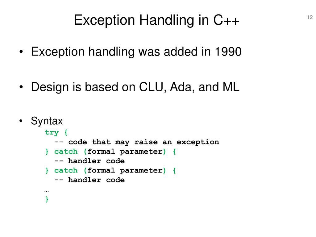 PPT - Exception Handling PowerPoint Presentation - ID:370465