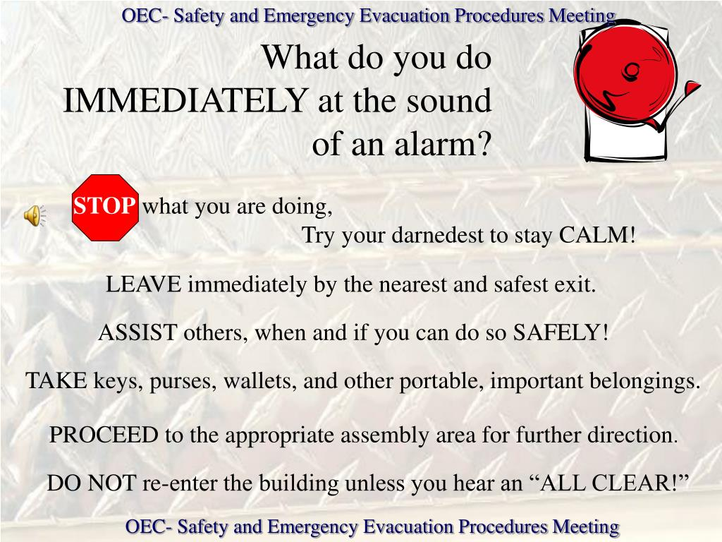 OEC- Safety and Emergency Evacuation Procedures Meeting