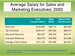 average salary for sales and marketing executives 2003