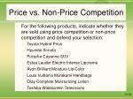 price vs non price competition