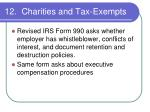12 charities and tax exempts