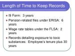 length of time to keep records