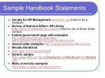sample handbook statements