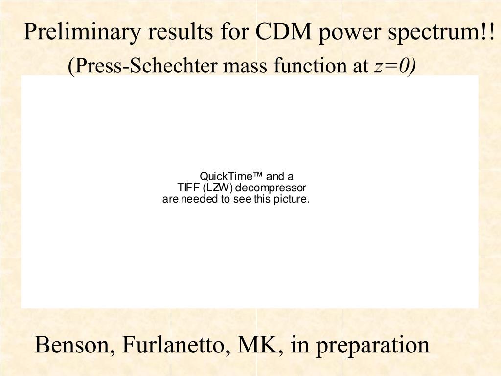 Preliminary results for CDM power spectrum!!