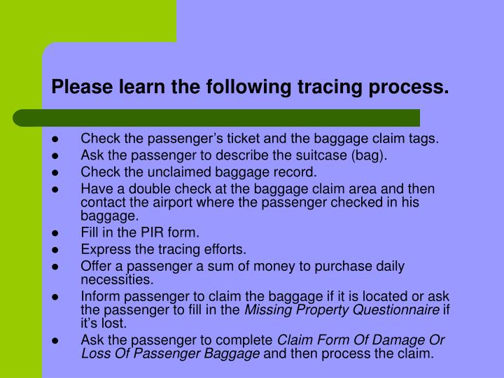 Please learn the following tracing process