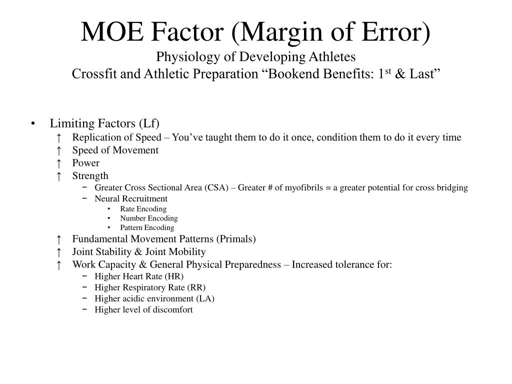 MOE Factor (Margin of Error)