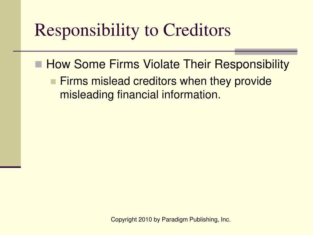 Responsibility to Creditors