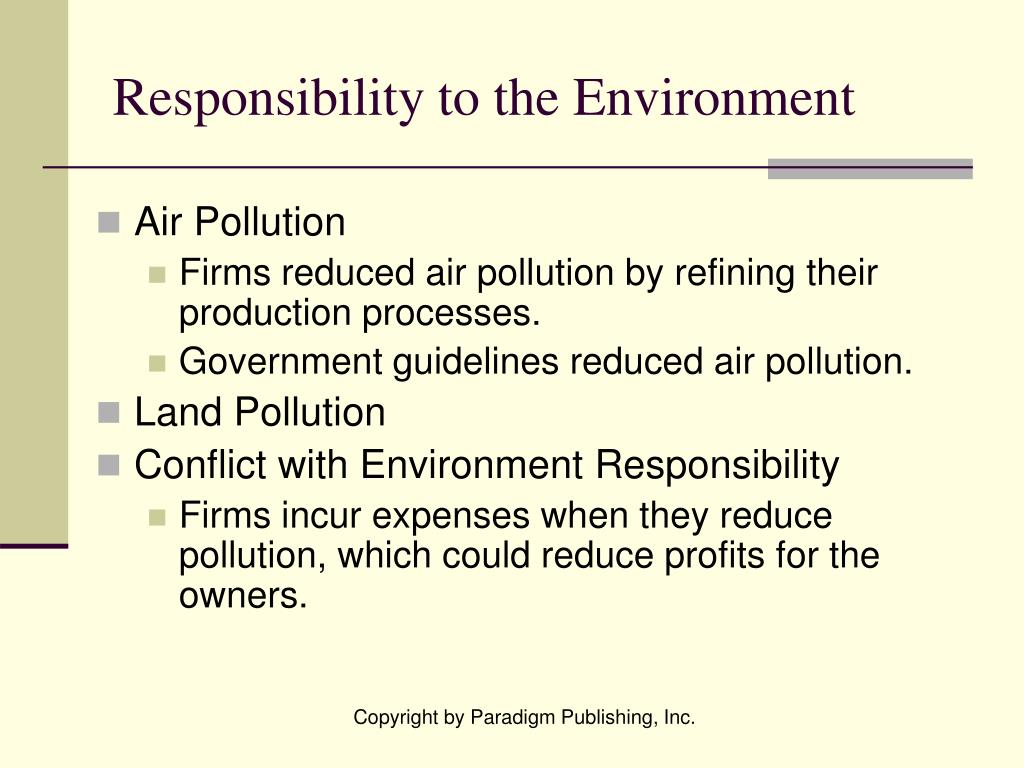 Responsibility to the Environment