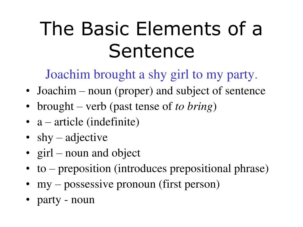the basic elements of a sentence l.