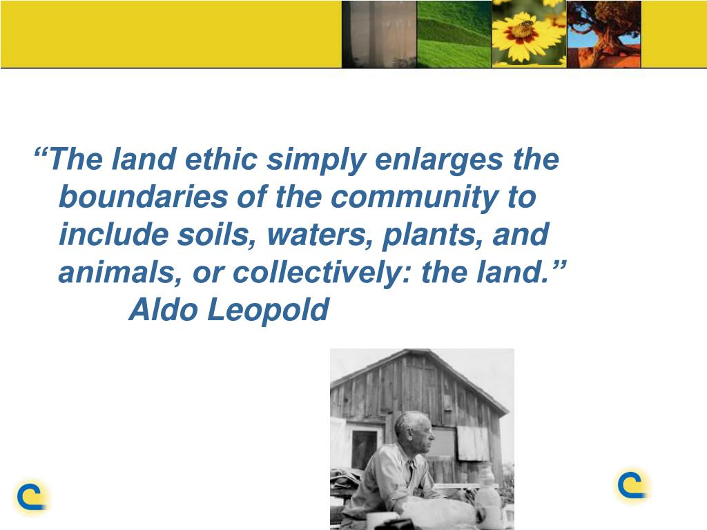 """""""The land ethic simply enlarges the boundaries of the community to include soils, waters, plants, and animals, or collectively: the land."""""""