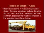 types of boom trucks