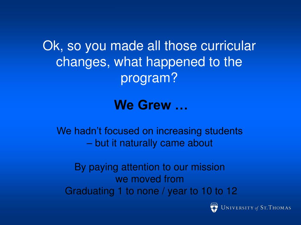 Ok, so you made all those curricular changes, what happened to the program?