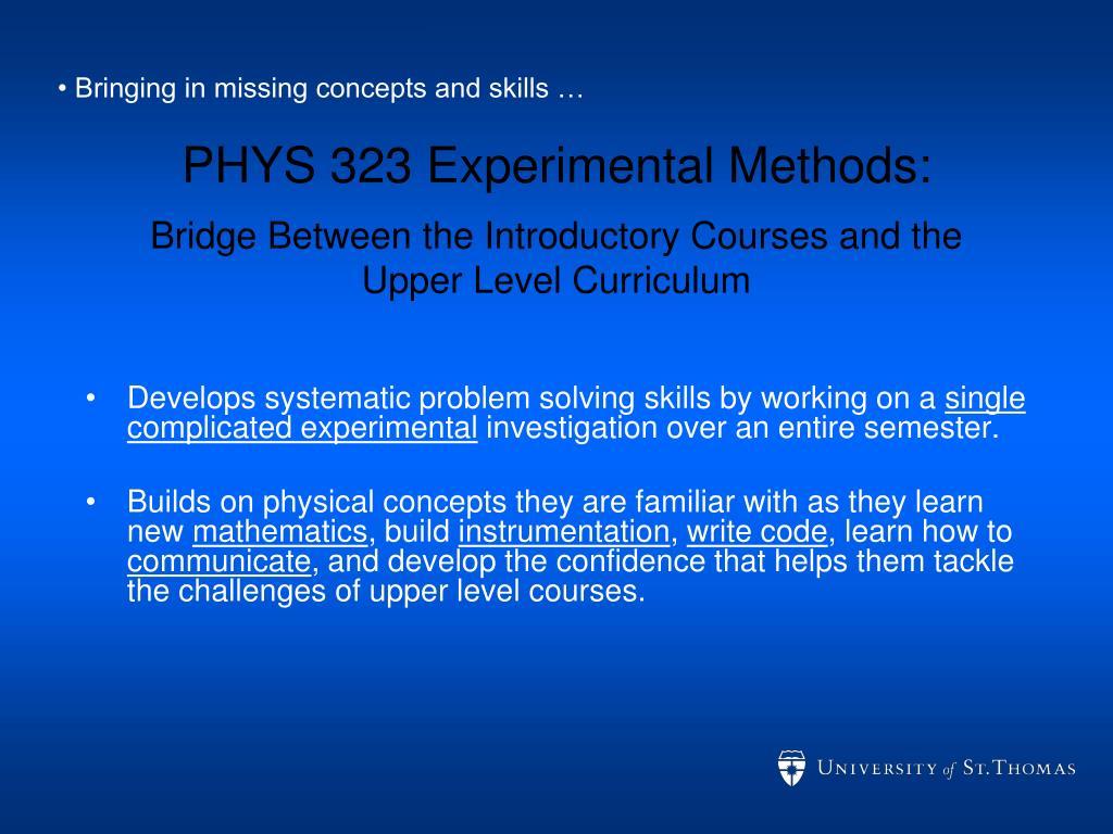 PHYS 323 Experimental Methods: