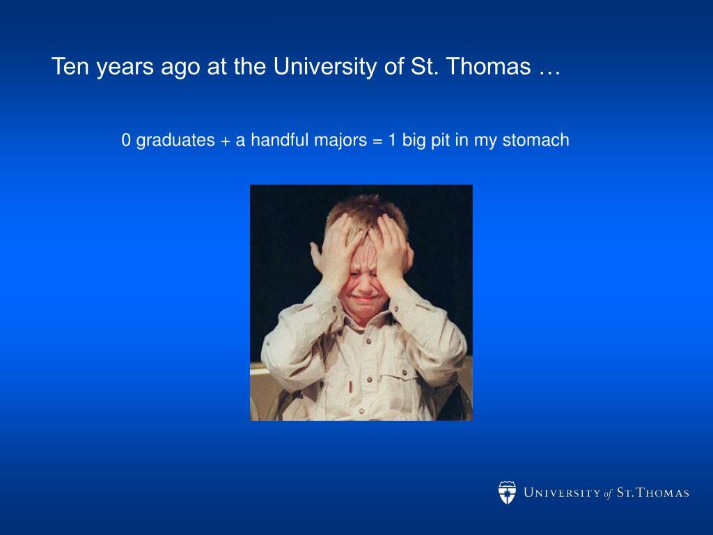 Ten years ago at the University of St. Thomas …