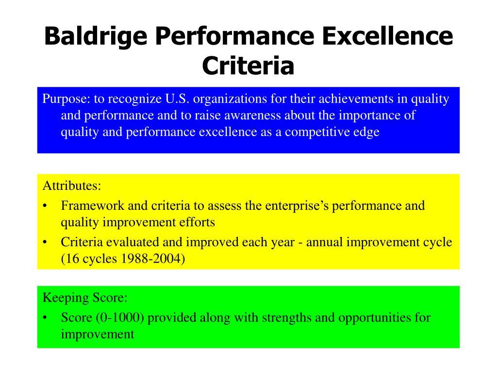 Baldrige Performance Excellence Criteria