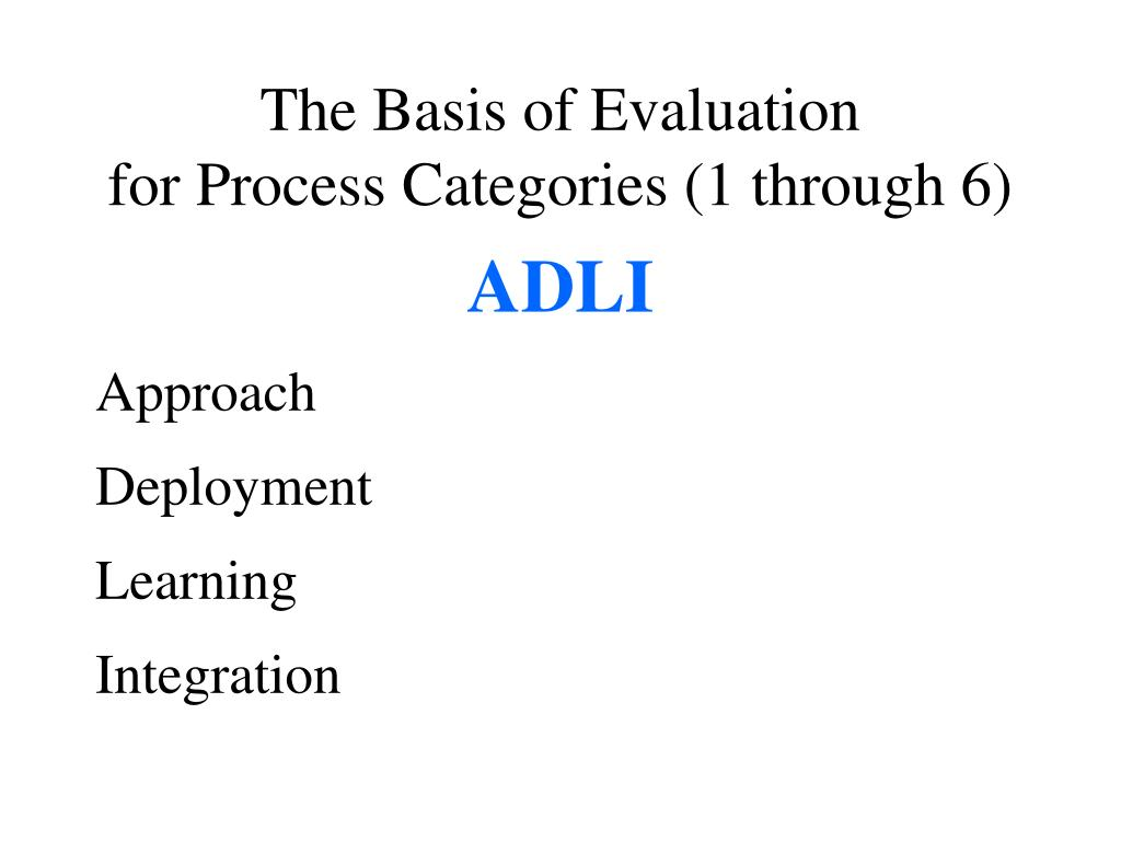 The Basis of Evaluation