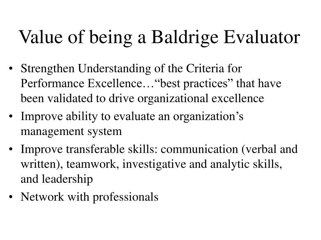 Value of being a Baldrige Evaluator