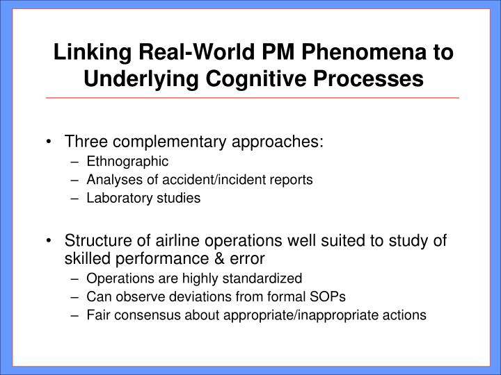 Linking Real-World PM Phenomena to Underlying Cognitive Processes
