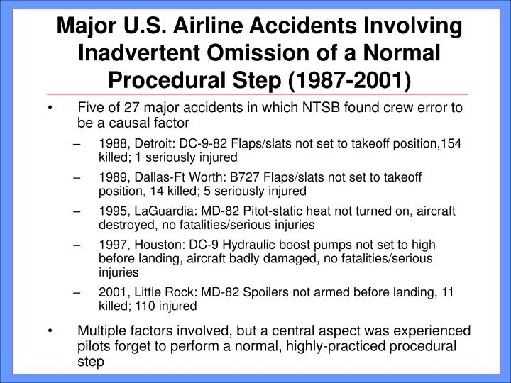Major u s airline accidents involving inadvertent omission of a normal procedural step 1987 2001