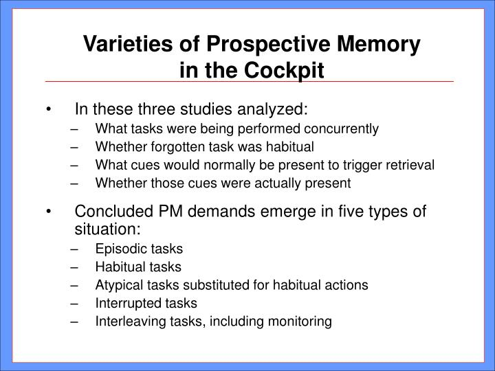 Varieties of Prospective Memory