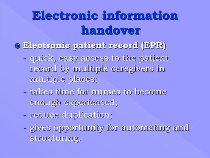 Electronic patient record (EPR)