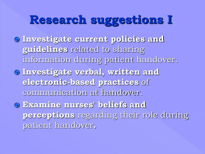Research suggestions I