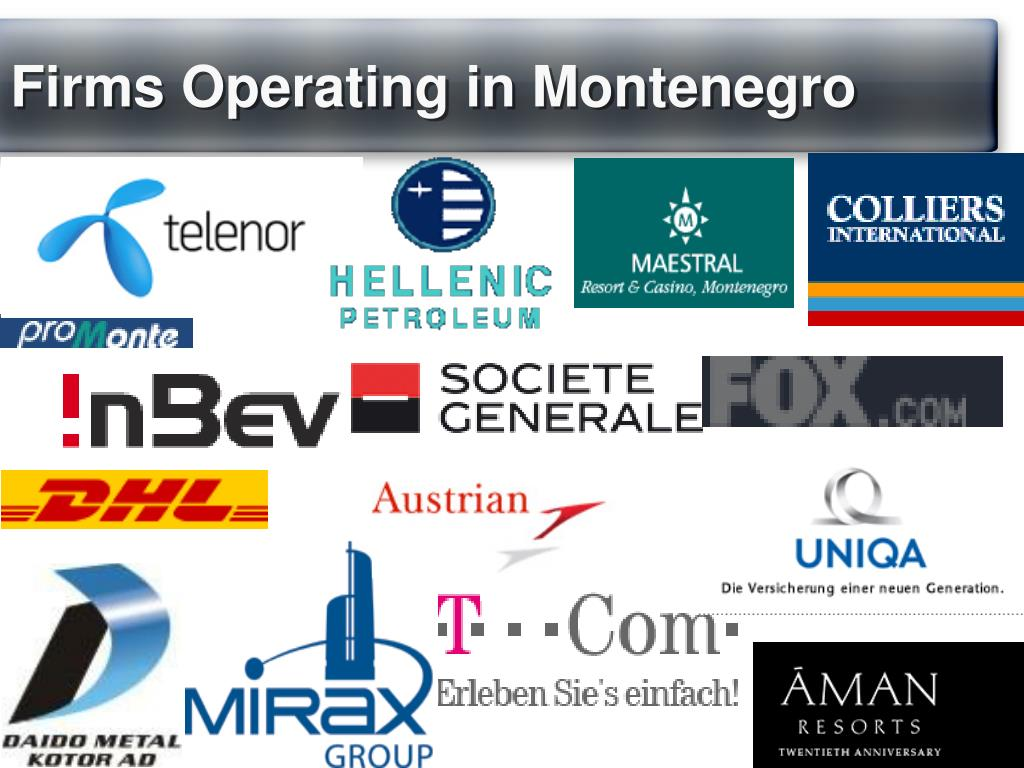 Firms Operating in Montenegro