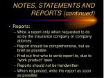 notes statements and reports continued34