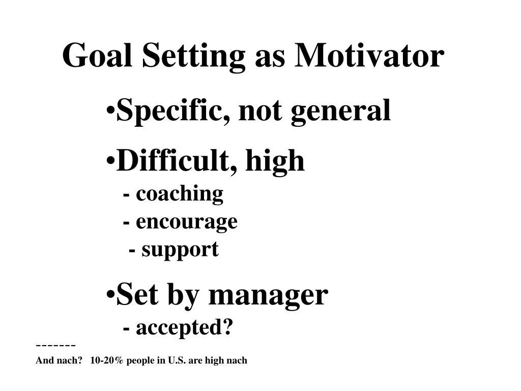 Goal Setting as Motivator