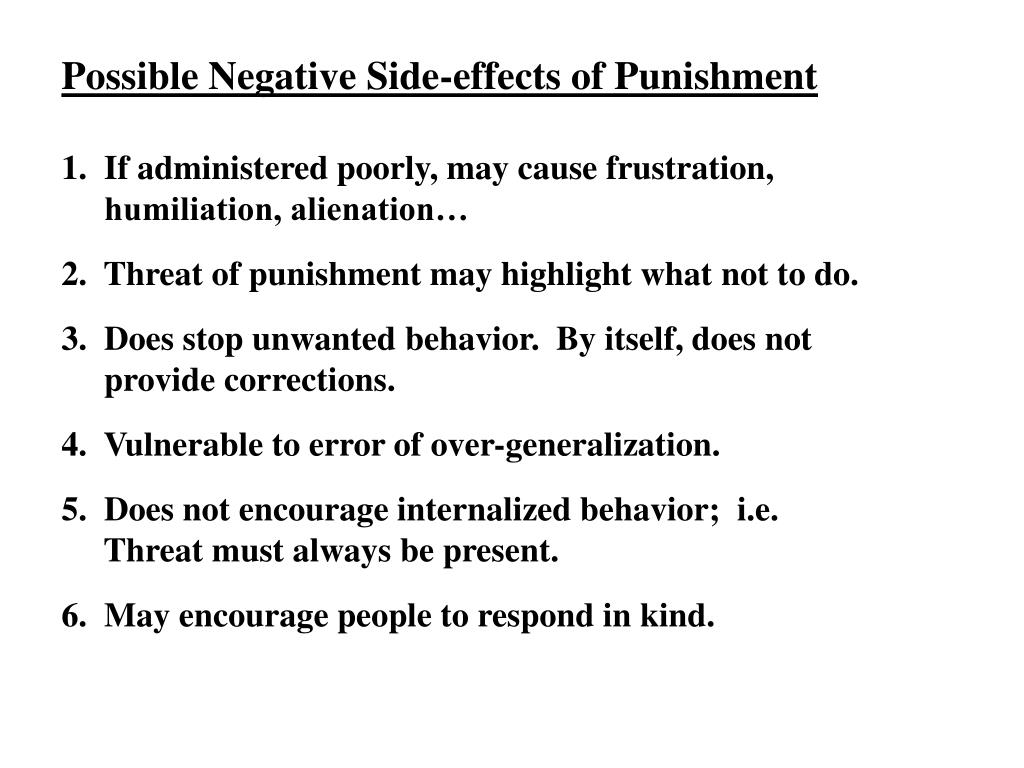 Possible Negative Side-effects of Punishment