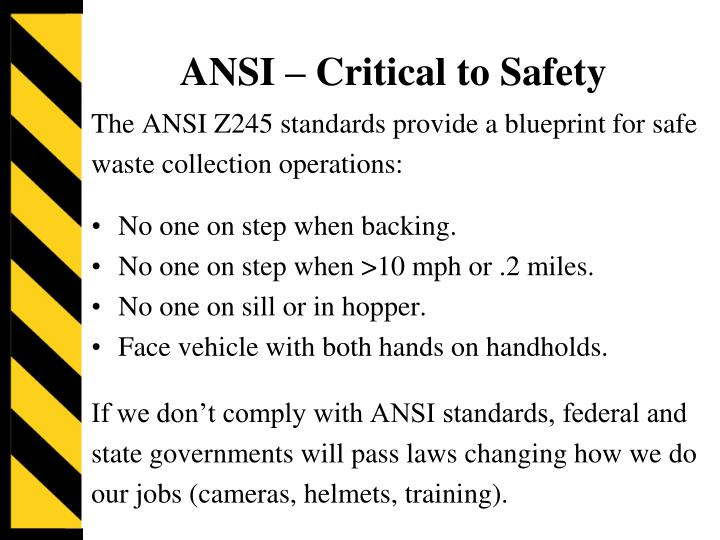 ANSI – Critical to Safety