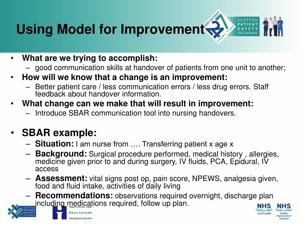 Using Model for Improvement