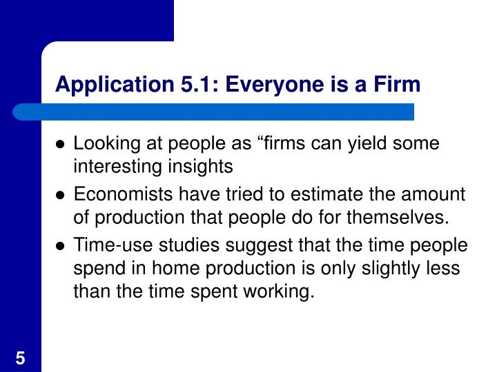 Application 5.1: Everyone is a Firm