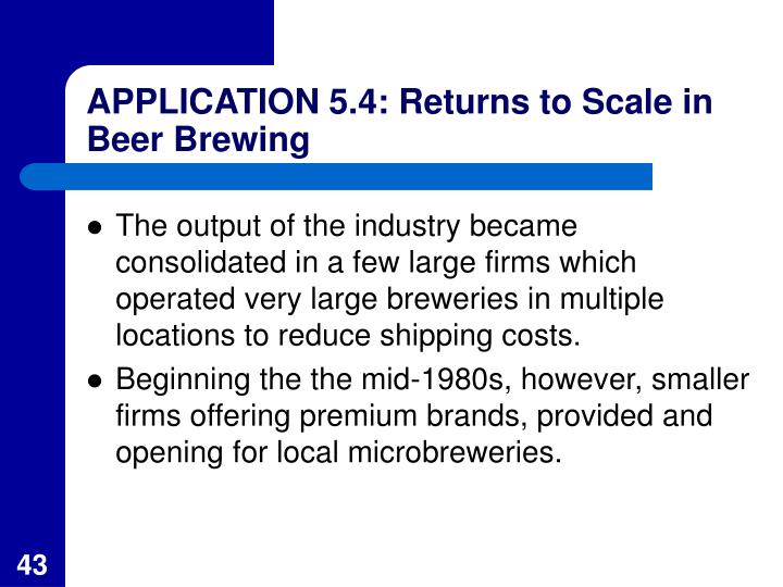 APPLICATION 5.4: Returns to Scale in Beer Brewing