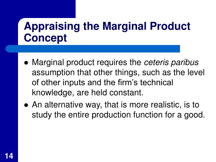 Appraising the Marginal Product Concept