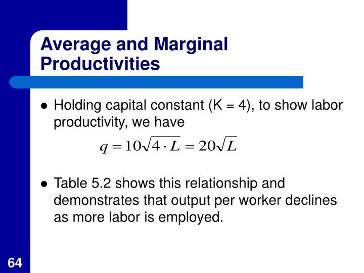 Average and Marginal Productivities