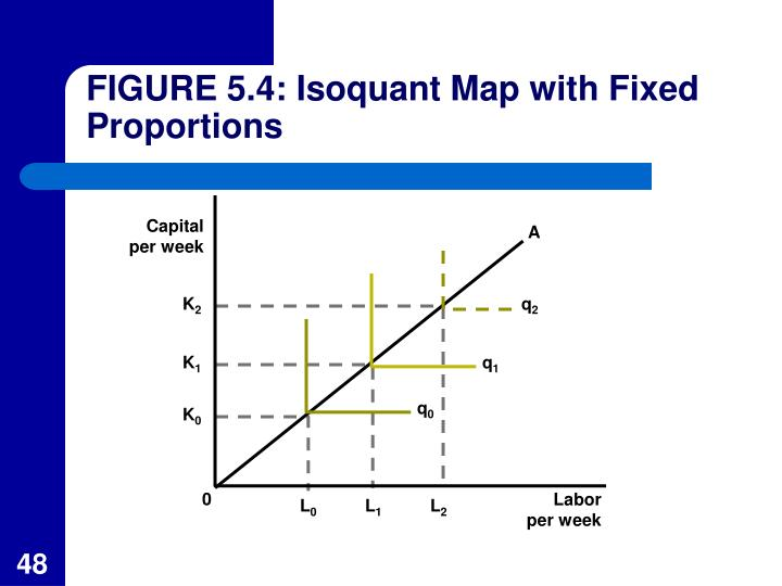 FIGURE 5.4: Isoquant Map with Fixed Proportions